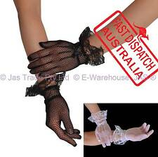 Costume Fancy Dress Party Punk 20's 80's Lace Trim Gloves Full Finger FISHNET