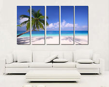 Beach/Palm Trees/Seascape ready to hang set of 5 MDF wall art/Mounted PVC canvas