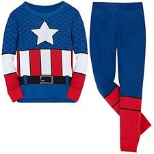 NWT Disney Store Superhero Captain America Deluxe Costume PJ Pal Sleep Set NEW