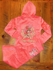 NWT JUICY COUTURE outfit BLING ROSES ROYALTY 4 6 8 coral PANT JACKET HOODIE