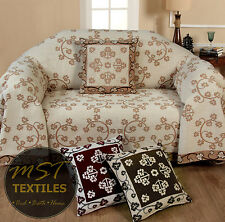 CHENILLE SOFT FABRIC FLORAL PATTERNED SOFA CHAIR SETTEE COVERS FURNITURE THROWS