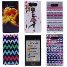 Fashion Stripes Fire Heart Art Mural Hard Back Case Cover for LG Optimus L7 P700
