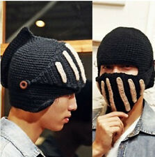 Punk Unisex Winter Thermal Beanie Men Women Roman Knight Hat Knitted Mask Caps