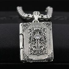 Openable Holy Bible Cross White CZ Stone 925 Sterling Silver Pendant 8P003A