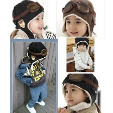 New Cool Baby Toddler Boy Girl Kids Pilot Aviator Warm Cap Hat Beanie Black
