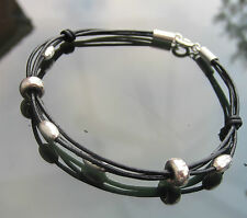Black Real Leather Cord Bracelet with 925 Sterling Silver Clasp and Beads Tubes