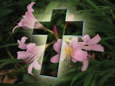 BEAUTIFUL CROSS GLOSSY POSTER PICTURE PHOTO crucifix jesus easter flowers 1016