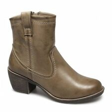 Womens Ladies Faux Leather Full Zip Casual Western Ankle Cowboy Boots Tan Brown