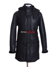 Men's Black New Smart Winter Real Shearling Sheepskin Leather Duffle Coat
