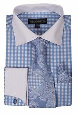 New George French cuff dress shirt with cuff links paisley tie&hanky Blue AH615