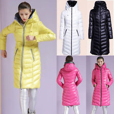 Winter Hooded Womens Duck Down Jacket Slim Snow Parka Thick Long Coat 4 Color