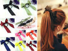 Sweet Women Multicolor Satin Ribbon Bow Hair Band Rope Scrunchie Ponytail Holder