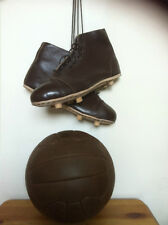 vintage retro antique style football , football boots or both items .leather new