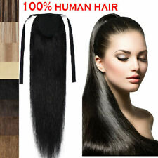 """16""""-24 real indian remy human hair ponytail clip in hair extensions 1b#off black"""