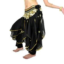 Belly Dance Bloomers Chiffon Costume Wavy Pants &Hip Scarf Skirt Belt Gold Coins