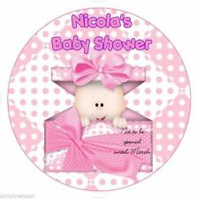 Baby Shower Pink Girl Personalised Icing Cake Topper party babies baby Edible
