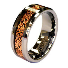18K Rose Gold Plated Celtic Dragon 8mm Tungsten Carbide Wedding Band Ring in Box