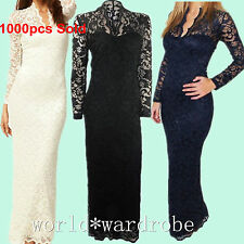 Sexy Women Long Sleeve V Neck Lace Dress Club Evening Cocktail Party Long Dress