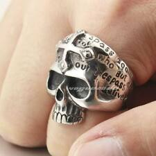 Cool Skull & Silver Cross 316L Stainless Steel Mens Biker Ring 4B032XG