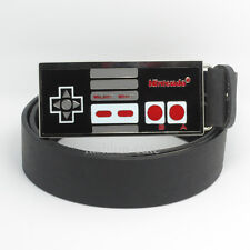 Classic Black New Nintendo Nes Game Controller mens metal Belt Buckle Leather