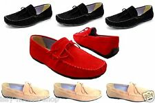 NEW SUEDE MENS BEIGE BLACK RED SIZE 6-11 BOAT DECK MOCCASIN LOAFER FORMAL SHOES