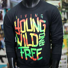 NEW MENS SWEATSHIRT Crew Neck LIVING YOUNG WILD FREE YOLO BLACK SWAG DOPE FRESH