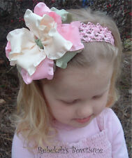Spring Easter Double Ruffle Hair Bow Headband Bowband Ivory Pink Moss Clip Bows
