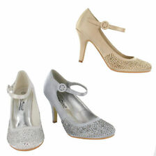 LADIES SATIN COURT SHOES WITH ANKLE STRAP ( L2240)