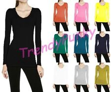 V NECK LONG SLEEVE T-SHIRT SLIM FIT Basic Plain Top COTTON SPANDEX Yoga
