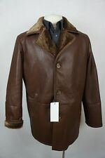 Men New 100% Genuine Real Shearling Leather Sheepskin Trench Coat Jacket S-5XL