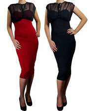 Chiffon Pencil Dress Long Black Red Wiggle Pinup Rockabilly 1950's 60's Sexy Top