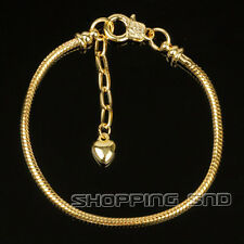5pcs Gold Plated Lobster Clasp Snake Chain Charm Bracelets Fit European Beads