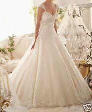 Elegant A-line Lace Cap Sleeve Bridal Wedding Dress Custom Size 6-8-10-12-14-16+