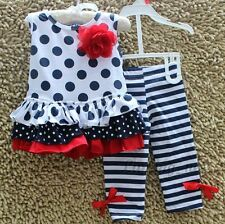 NEW GIRLS Baby Toddler Kid's  Clothes Sleeveless Polka Dot T-Shirt Leggings Set