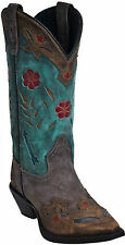 "Women's Laredo ""Miss Kate"" Brown/Teal with Arrow Inlay Snip Toe Western Boots"