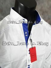 Mens BESPOKE Dress / Club Shirt in Classic White with Blue Details Button-up