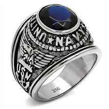 Mens United States Navy Military Ring Dk Blue Stone Stainless Steel Free Giftbox