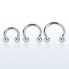 "PAIR 18G 5/16"" 3/8'' 7/16'' Surgical Steel Circular Horseshoe Barbell with Balls"