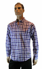Mens Long Sleeve Purple White Gingham Button Up Smart Casual Esprit Urban Shirt