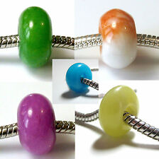 JADE Stone Abacus CHARM BEAD For 3mm European BRACELET - Choice of Colours