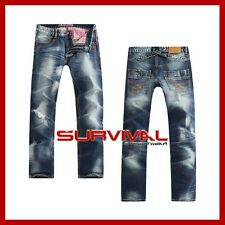 NEW MENS SZ 30 32 34 36 JAPANESE VINTAGE DESIGNER BLUE STRAIGHT LEG DENIM JEANS