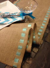 "12"" X 60"" Burlap Ribbon Trim Table Runner Wedding Decor"