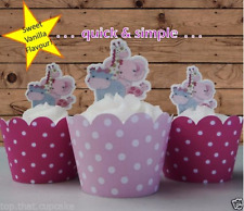 edible baby girl pink animals Cupcake Cake Toppers baptism shower 1st birthday