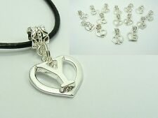 Silver Plated ALPHABET A~Z Smooth HEART Dangle CHARM Genuine Leather NECKLACE