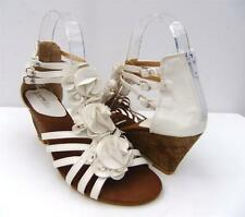 WOMENS Sz 7.8.9.10.11 WHITE Sandals Flower Mid WEDGE Heels ANKLE Strappy SHOES