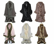 WOMENS  CELEBRITY QUALITY FUR TRIM DOUBLE LAYERED CAPE SIZE 8-16