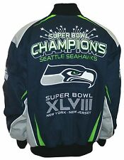 Seattle Seahawks Super Bowl Champions XLVIII (48) Twill Jacket - Blue By G-III