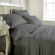1000TC (SOLID/STRIPE) ELEPHANT GREY EGYPTIAN COTTON COMPLETE BEDDING COLLECTION