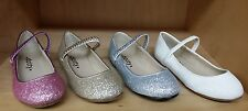 NEW Girls Dotty Riley PAGEANT WEDDING FLOWER GIRL Round Closed Toe Glitter Flats