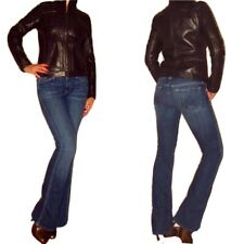 DKNY Motorcycle Bomber Biker Chocolate Brown Nat Leather Jacket S M RUNS SMALL